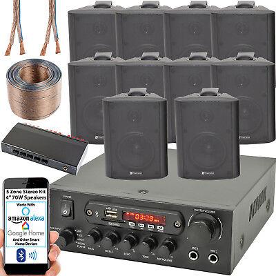 5 Zona Altavoz Bluetooth Kit – 10x 70W Negro Pared Montaje –...