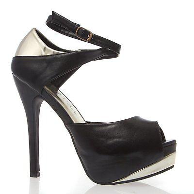 New Women's Peep Toe Criss-Cross Ankle Strap Sandal Pump Stiletto Heel Platform Cross Peep Toe Sandal