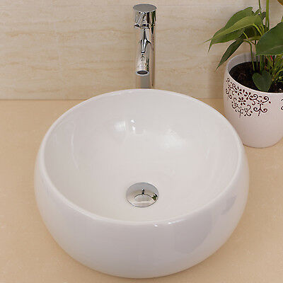 White Round Bathroom Ceramic Vessel Sink Bowl w/Chrome Faucet Drain Basin Combo