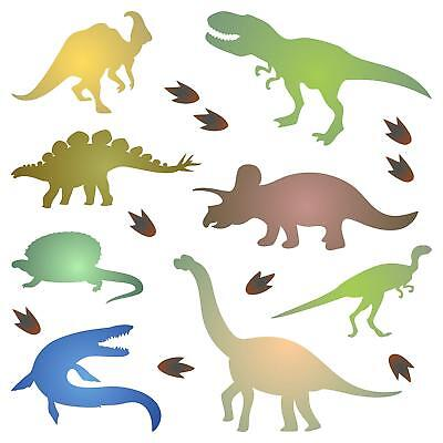 Dinosaur Silhouette Stencil Reusable Kids Animal Jurassic Furniture Template