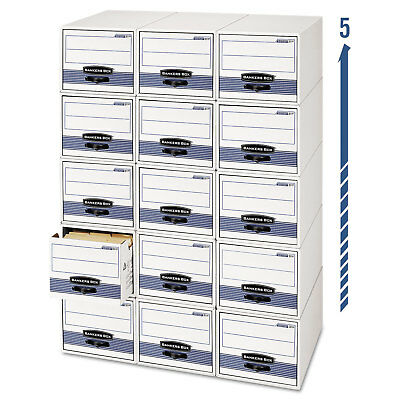 Bankers Box Stordrawer Steel Plus Storage Box Letter Whiteblue 6carton 00311