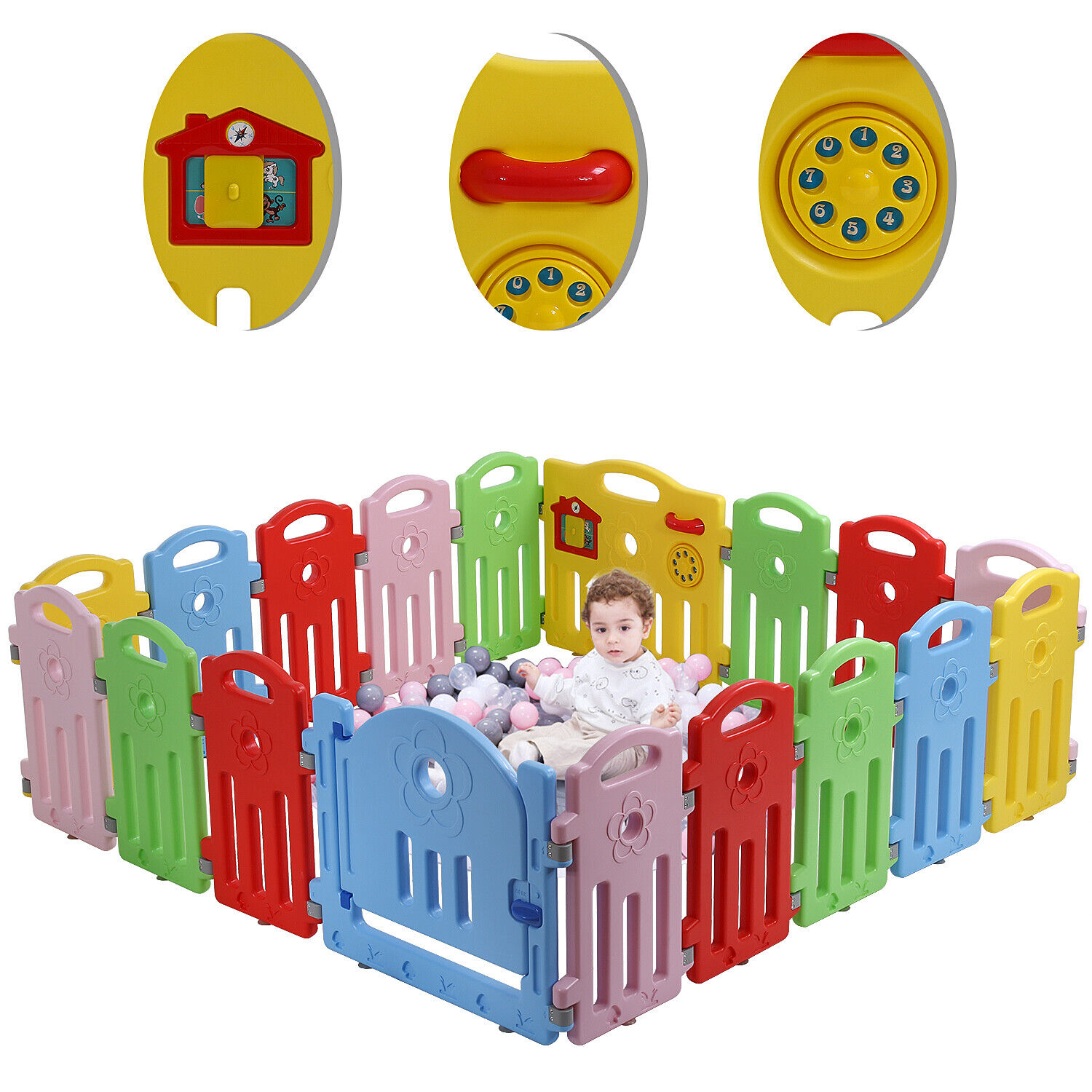 Baby Playpen 18 Panels Infants Toddler Safety Kids Play Pens w/ Activity Board Baby