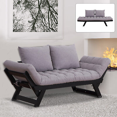 2-in-1 Sofa Bed Convertible Loveseat Living Room Grey