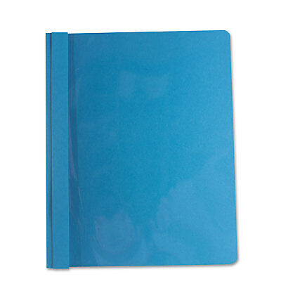 """UNIVERSAL Report Cover Tang Clip Letter 1/2"""" Capacity Clear/Blue 25/Box 56101"""