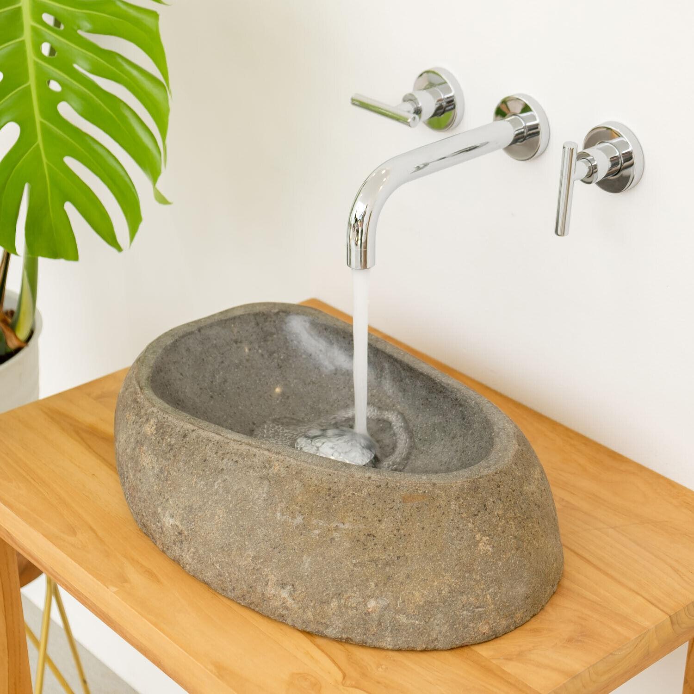 WOHNFREUDEN Naturstein Waschbecken 40 cm natur WAVE Findling Bad Gäste WC
