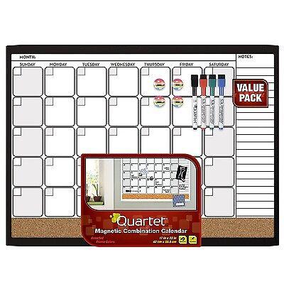 Quartet Dry Erase Cork Calendar Board Combo Value Pack Magnetic Black Frame ...