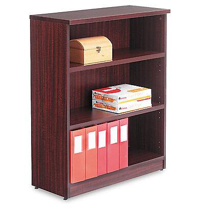 Alera Valencia Series Bookcase, Three-Shelf, 31 3/4w x 14d x 39 3/8h, Mahogany Alera 3 Shelf Bookcase