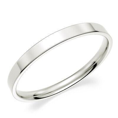Solid 10K White Gold 2mm Comfort Fit Men Women Flat Wedding Band Ring 10k White Gold Flat Band