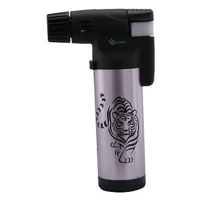 GStar Large Tiger Single Jet Flame Butane Cigarette Cigar Torch Lighter – Purple