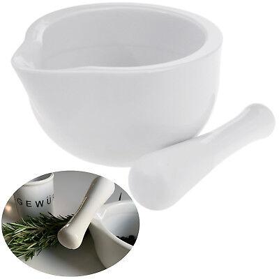 Keramik Mörser Stößel Set Weiß 10cm Gewürzmörser Käuter Zerkleinerer Mühle Reibe