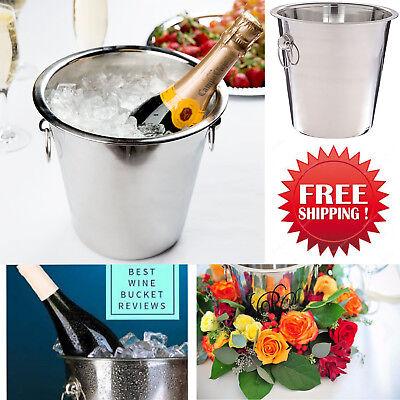 4 Quart Ice Wine Bucket Champagne Stainless Steel Cooler Bottle Drinks Holder  ()