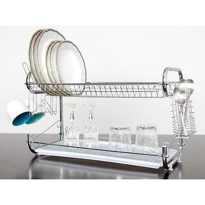 """2 Tier 22"""" Stainless Steel Dish Plate Cup Drying Rack Drainer Strainer"""