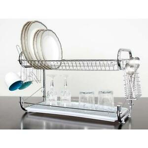 2 Tier 22 Stainless Steel Dish Plate Cup Drying Rack Drainer Strainer