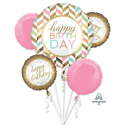Cute Colorful Chevron 5pc Bouquet Birthday Party Foil Balloons - Cute Birthday Balloons