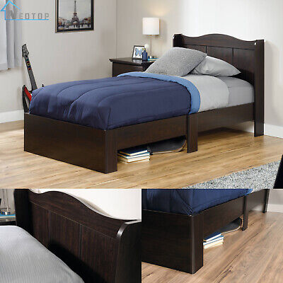 Brown Kids Bedroom Furniture - Twin Size Bed Frame Headboard Modern Kids Bedroom Furniture Under Storage Brown