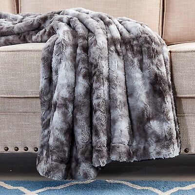 Xmas Gift Faux Fur Bed Twin Blanket - Super Soft Fuzzy Cozy Warm Fluffy