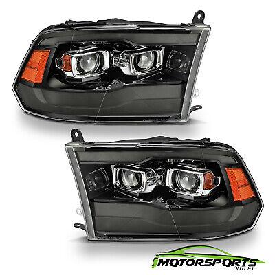 For 2009-2018 Dodge Ram Smoke Black Switchback Projector Headlights w/ LED DRL