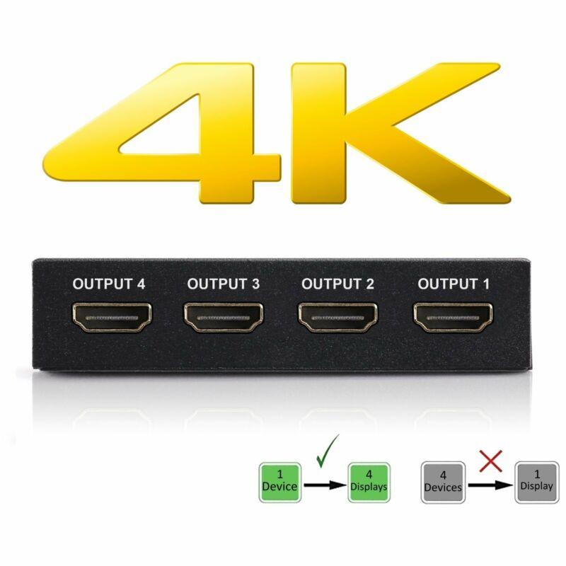 HDMI Splitter – Display Video from 1-4 Displays - 65ft HDMI Signal Transfer