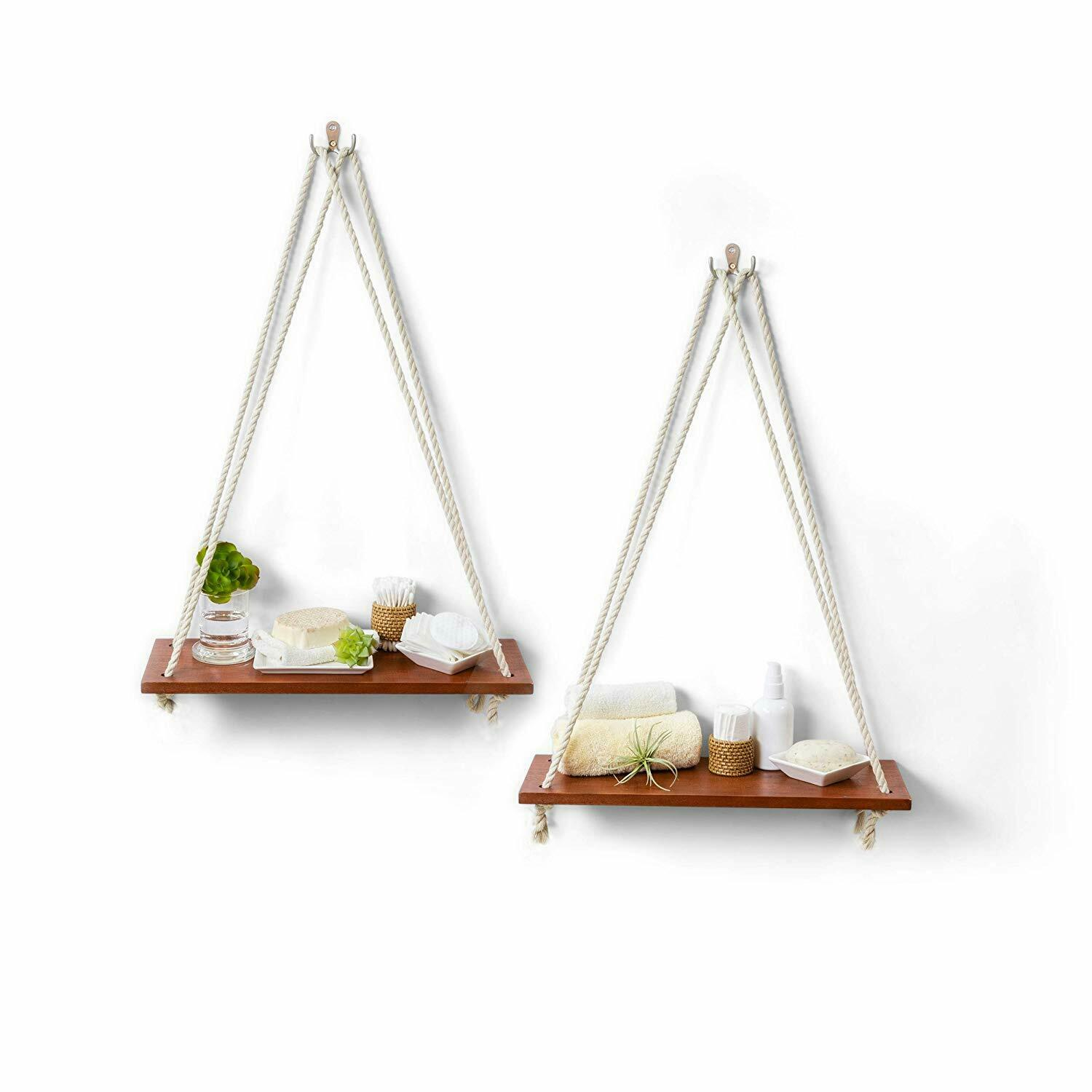 Hanging Shelves with White Cotton Rope   Floating Wall Shelv