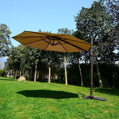 Patio Umbrella 10' Outdoor Sun Shade Cantilever Hanging Market Canopy Cover Tilt