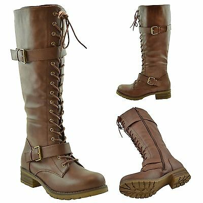 Buckle Knee High Boot (Womens Lace Up Combat Knee High Boots w/ Buckle Straps Brown Size 5.5-10)
