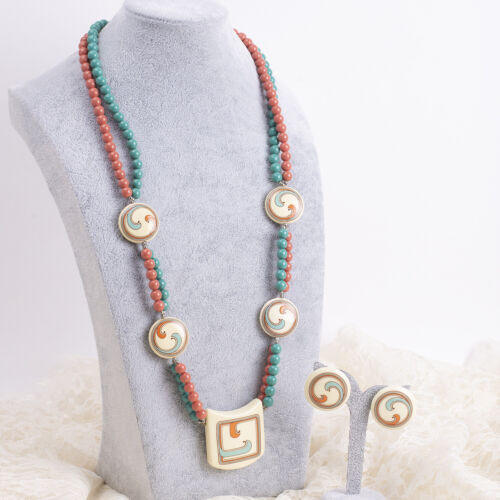 """Vintage Pink Coral Turquoise Resin Bead Pendant 32"""" Summer Necklace Earring Set"""