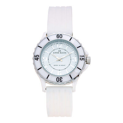 Anne Klein 10-9419WTWT Ceramic Women's 39mm White Dial Rubber Strap Watch