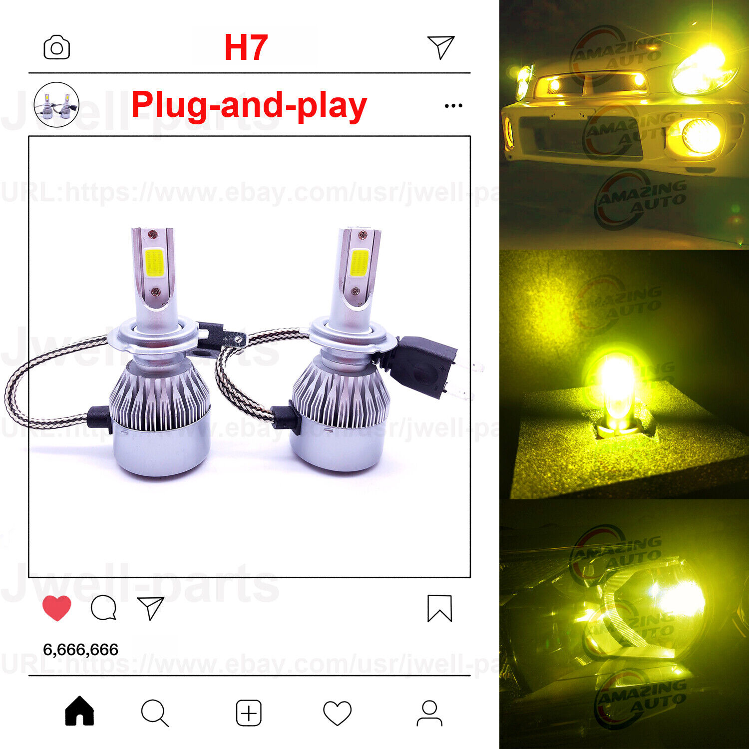 Car Parts - 2020 NEW H7 LED Headlights Bulbs Conversion Kit Canbus 50W 4500LM 3000K Yellow