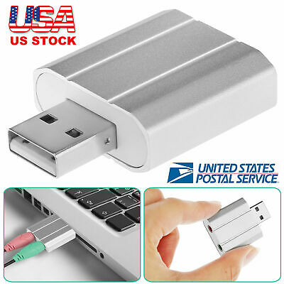 USB 5.1 Channel 2.0 Virtual Audio Sound Card Adapter for Windows XP 7 10 Mac - Mono Audio Card