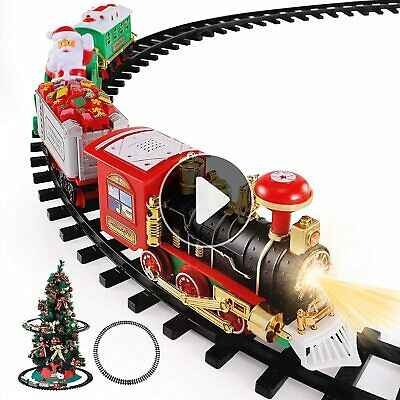 Christmas Train Toys Set Around Tree Electric Railway Train Set w Locomotive