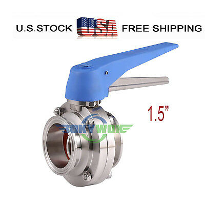 1.5 Sanitary Butterfly Valve Clamp Multi-position Handle 304 Stainless Steel