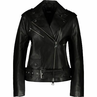 Karl Lagerfeld Women's Black Lambskin Leather Belted Biker Jacket UK 10 / IT 42