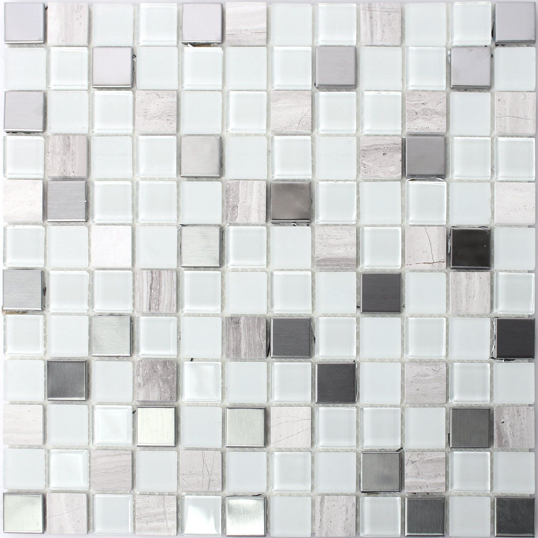 selbstklebende metall stein glas mosaik fliesen weiss eur 7 40 picclick de. Black Bedroom Furniture Sets. Home Design Ideas