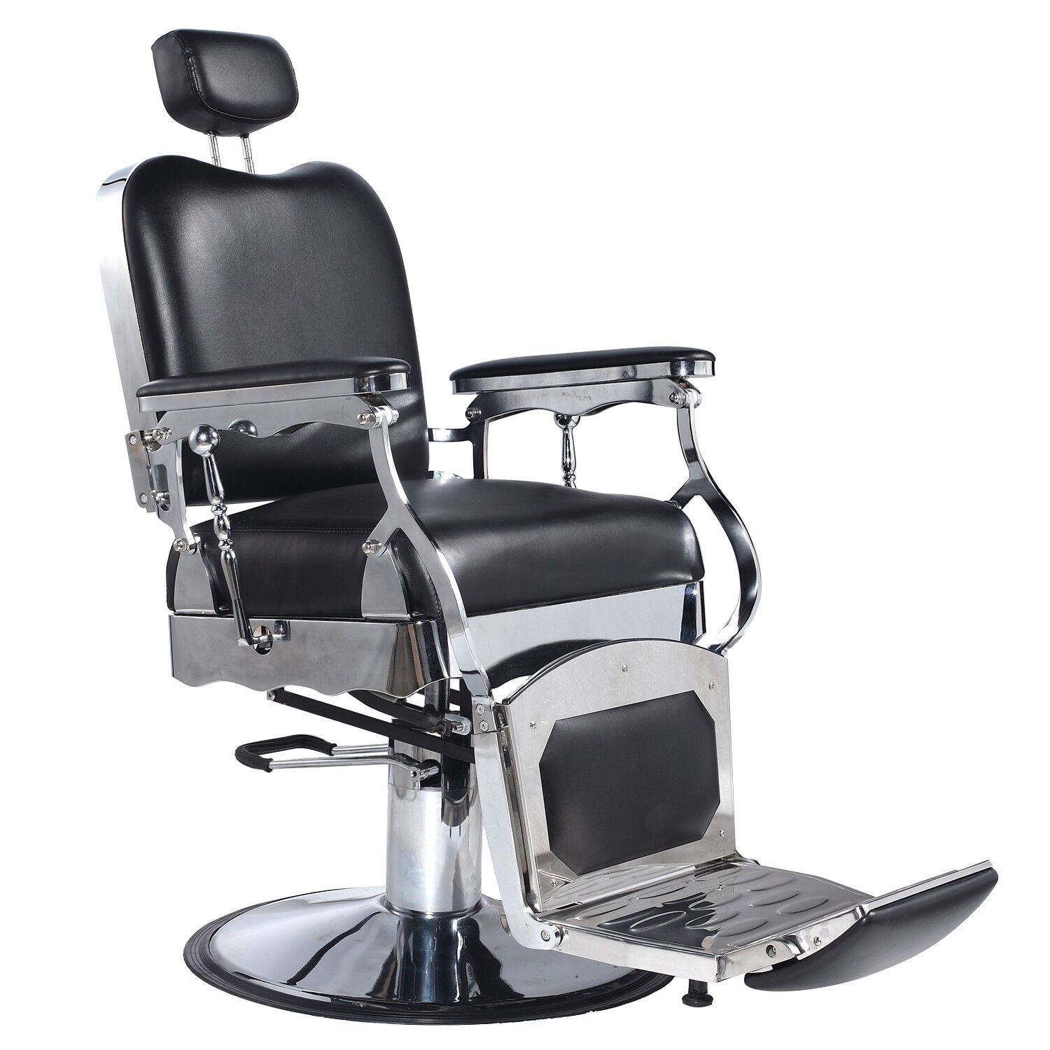 Black Heavy Duty Fashion Hydraulic Barber Chair Recline Salon Beauty Spa Shampoo 1