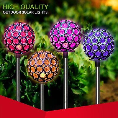(Solar Garden Color Changing Crystal Ball Decor Stake LED Light 4 inc. yard art)
