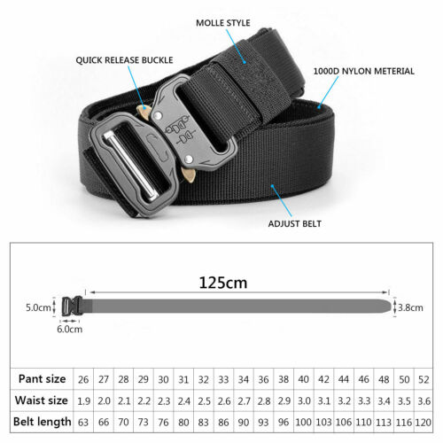 125cm Men Tactical Buckle Belt Military Nylon Duty Training Rescue Rigger Belt