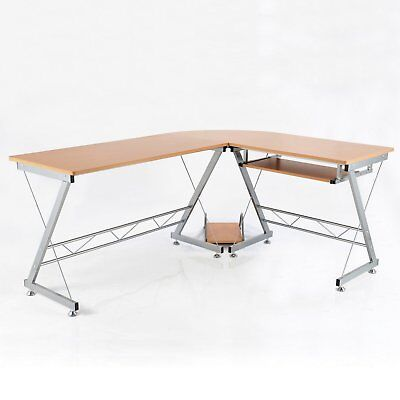 """67"""" L-shaped Corner Computer Desk Table Home Office Study Workstation CPU Stand"""