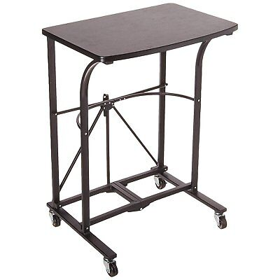 Folding Portable Laptop Trolley Steel Frame Wood Table TV Tray Computer Stand