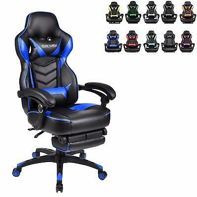 Video Gaming Chair Racing High Back Leather Recliner Office Desk Seat Footrest
