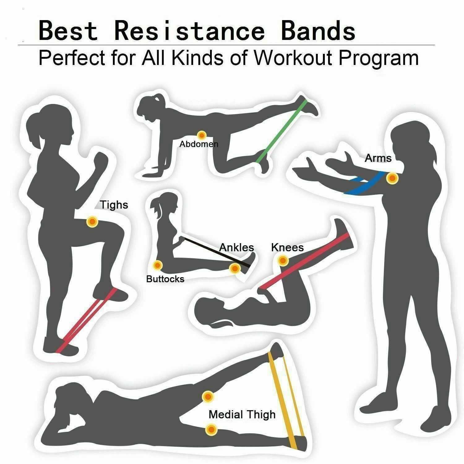 RESISTANCE BANDS SET LOOP Exercise Yoga Elastic Fitness