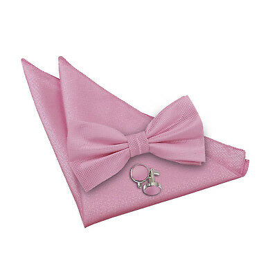 DQT Woven Plain Solid Check Light Pink Pre-Tied Bow Tie Hanky Cufflinks Set  Bow Tie Solid Light