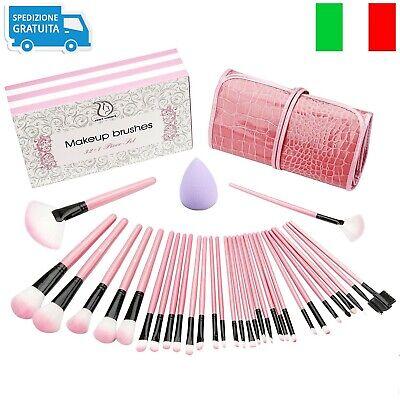 Set da 32 Pennelli Professionali per Make-up,Trucco Ombretto Kit Brush Custodia