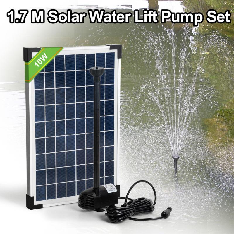 Solar Powered Panel Water Fountain Pump Kit Lift 1.7M Garden Pond Pool
