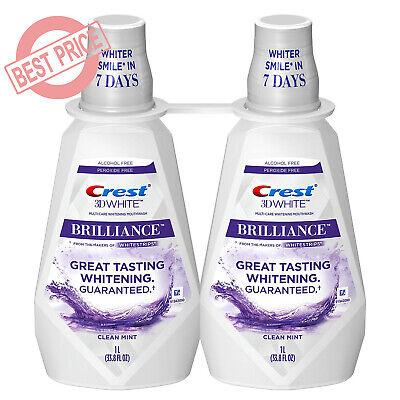 Crest 3D White Brilliance Whitening Mouthwash, Clean Mint (33.8 fl. oz., 2 pk.)