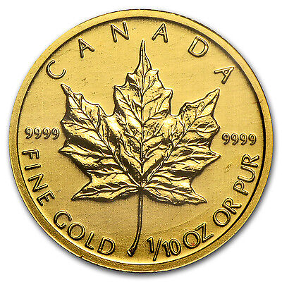 1/10 oz Gold Canadian Maple Leaf – Random Year