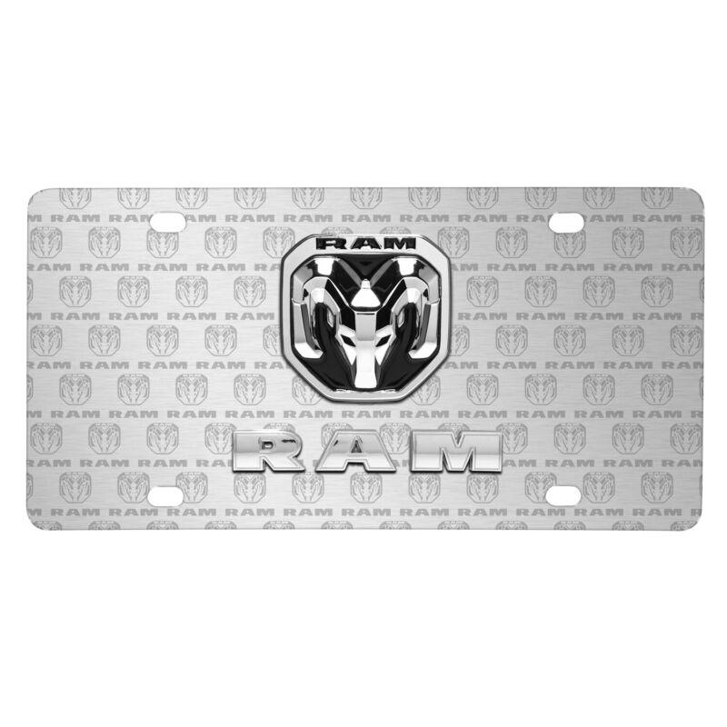 RAM 2019 3D Dual Logo on Logo Pattern Brushed Aluminum License Plate