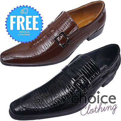 Mens Wedding Shoes Special Occasion Leather Look Glossy Black & Brown Slip-On  Special Occasions Mens Shoe