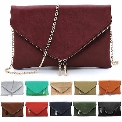 Fashion Evening Large Envelope Clutch Fold Over Clutch Purse Crossbody Bag
