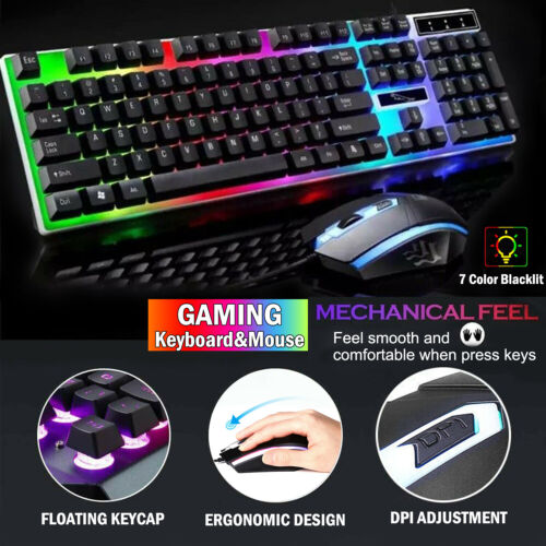 Gaming Keyboard Mouse Set Wired USB Rainbow LED Backlight fo