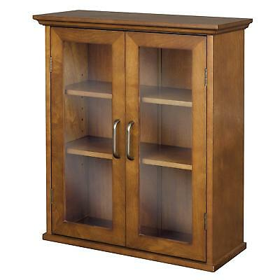 Oak Wooden Wall Cabinet Bathroom Storage Organizer Door Shelf Wall Mount Display